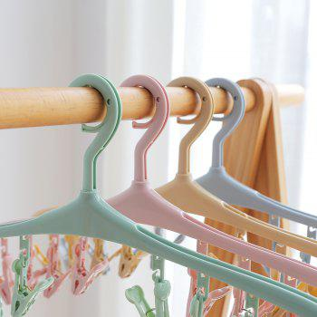 Can Rotate 8 Clip Plastic Clothes-Hanger Baby Socks Underwear To Hang The Rack - PINK 40X19CM
