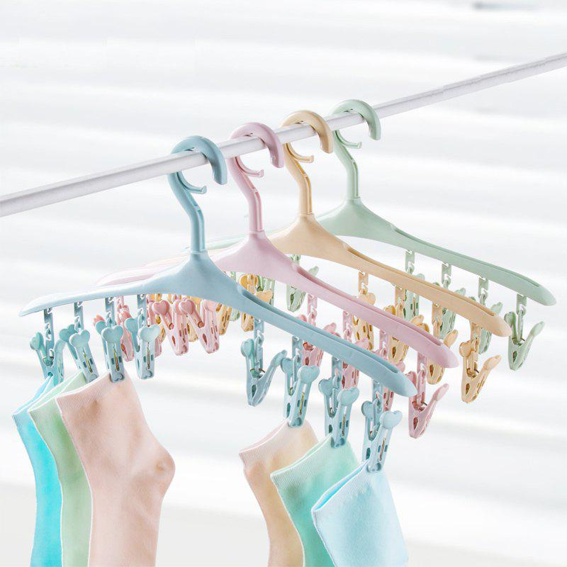 Can Rotate 8 Clip Plastic Clothes-Hanger Baby Socks Underwear To Hang The Rack - IVY 40X19CM