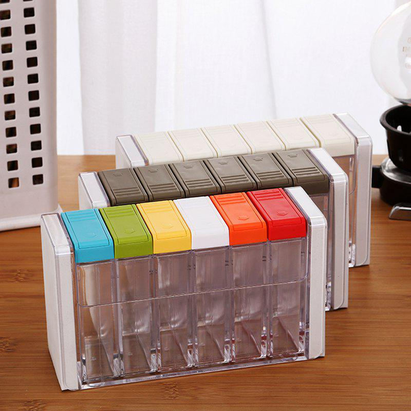 Kitchen Transparent Plastic Seasoning Box Condiment Bottle Six Sets of Salt MSG Seasoning Cans - COLOUR 18.2X10.5X6.4CM