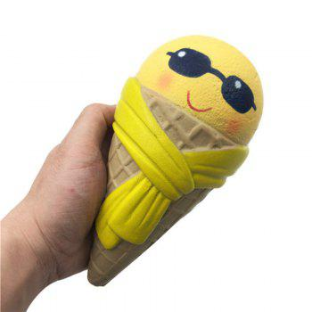 Funny Squishy Toy Made By Enviromental PU Material Replica Cartoon Grin Ice Cream for Different Age Group -  YELLOW