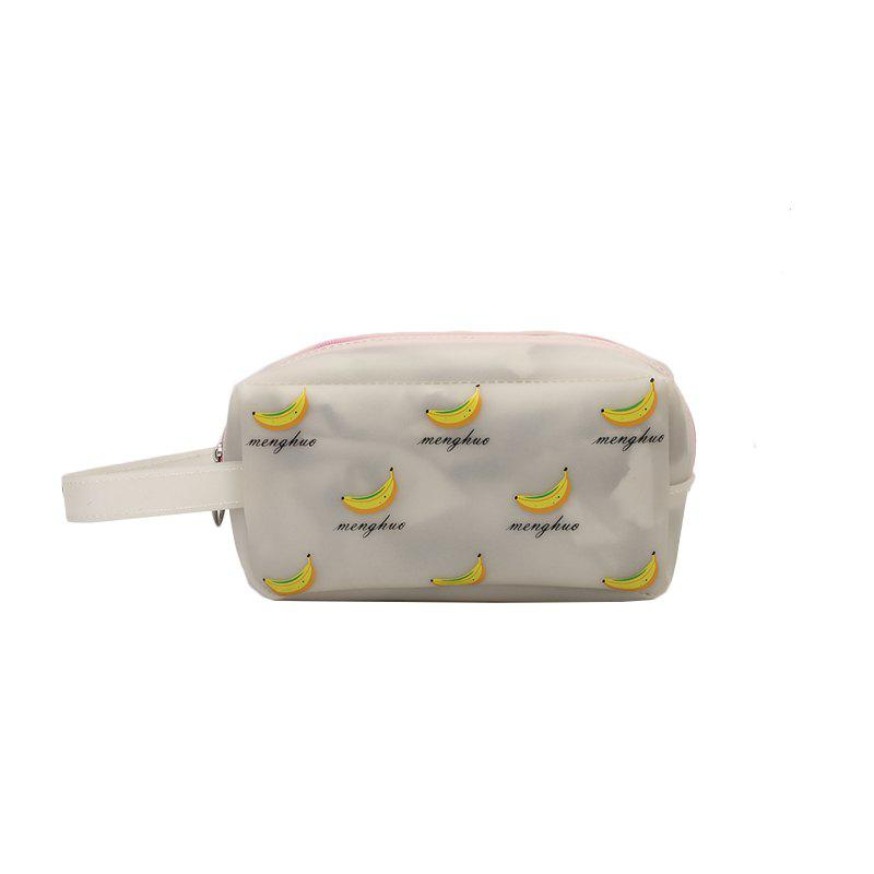 Fruit Printing Cute Big Makeup Bag - WHITEA