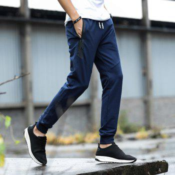 K007 Men's Casual Pants Slim Feet Feet Elastic Pants Trend - BLUE 4XL