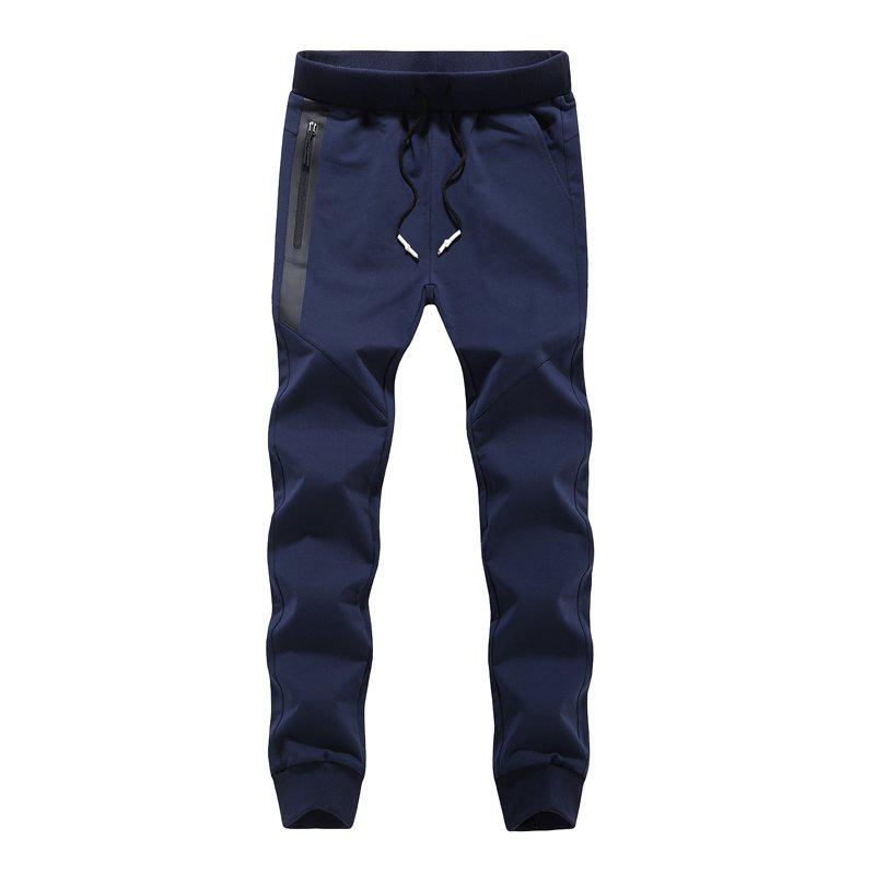 K007 Men's Casual Pants Slim Feet Feet Elastic Pants Trend - BLUE L