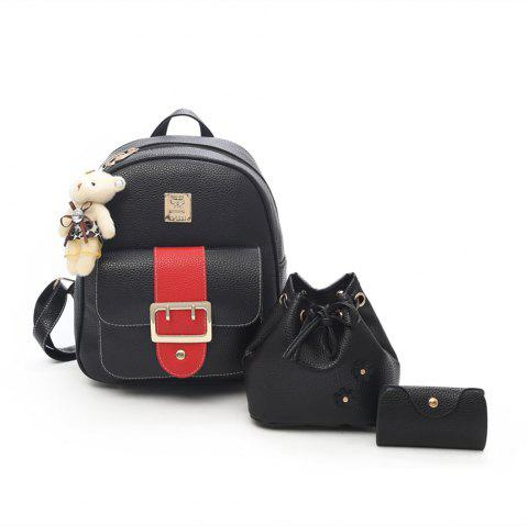 Hit Color PU Soft Leather Casual Wild Travel Backpack Women - BLACK