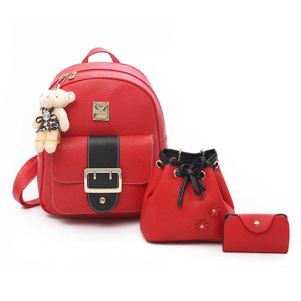 Hit Color PU Soft Leather Casual Wild Travel Backpack Women - RED