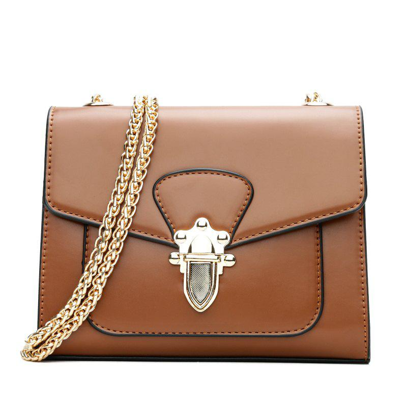 New Wild Chain Bag Mini Shoulder Buckle Retro Rivets Messenger Bag Ladies Small Bag - BROWN