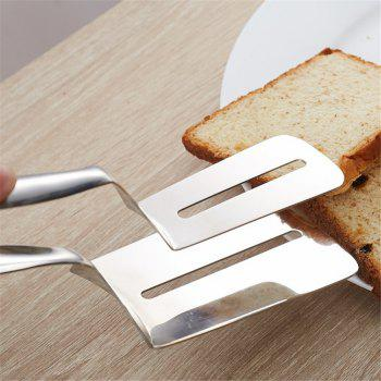 Cooking Tools Stainless Steel Barbecue Clip BBQ Tongs Fried Shovel Bread Meat Vegetable Clamp - SILVER
