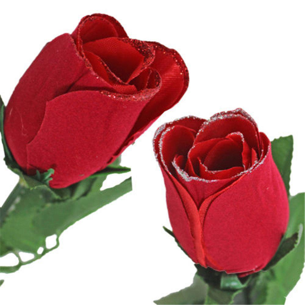 Valentine Day Single Wrapped Artificial Red Rose with Glitter - RED