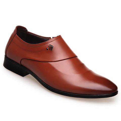 Business Casual Men Single Shoes - BROWN 42