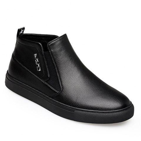 Fashionable Casual Leather Shoes - BLACK 41