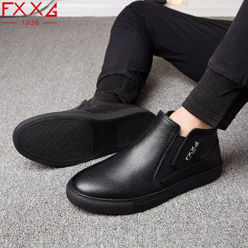 Fashionable Casual Leather Shoes - BLACK 42