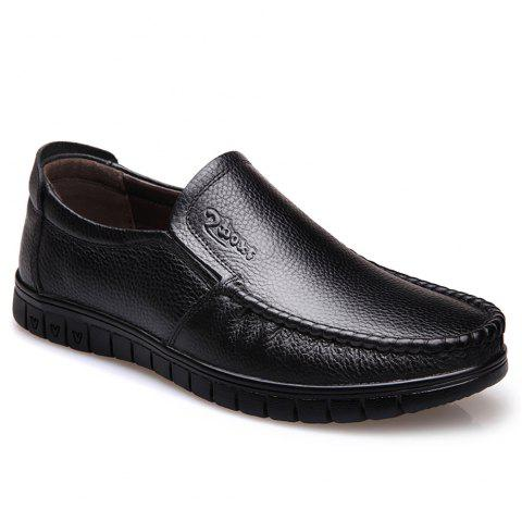 Men Leather Business Casual Shoes - BLACK 40