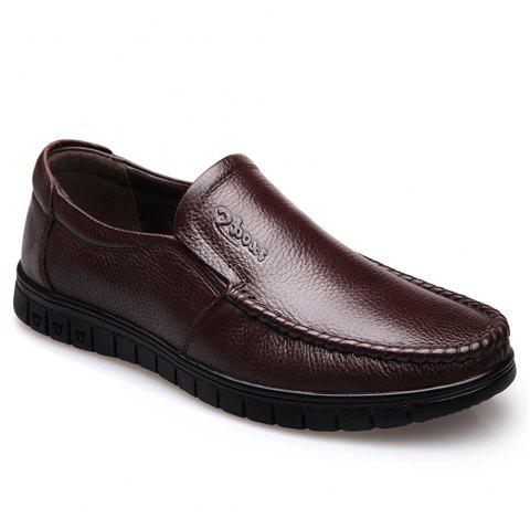 Men Leather Business Casual Shoes - BROWN 42
