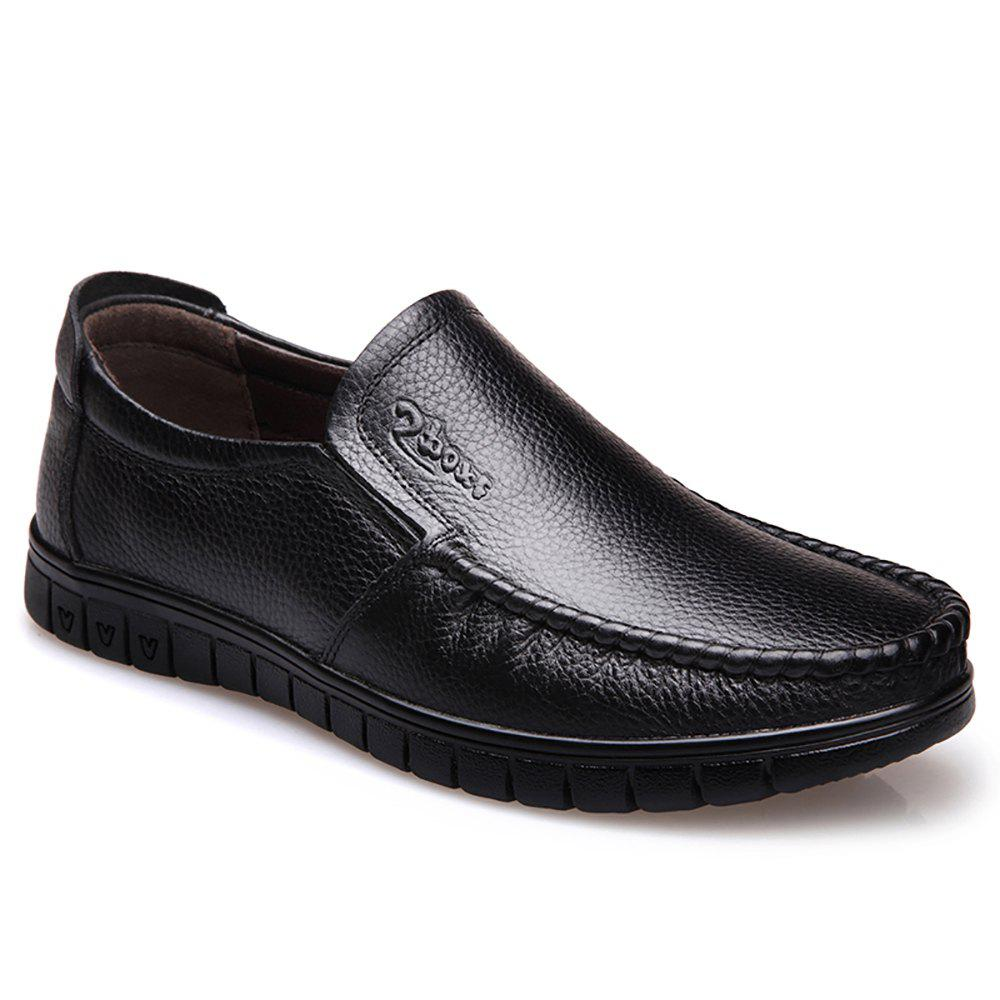 Men Leather Business Casual Shoes - BLACK 43