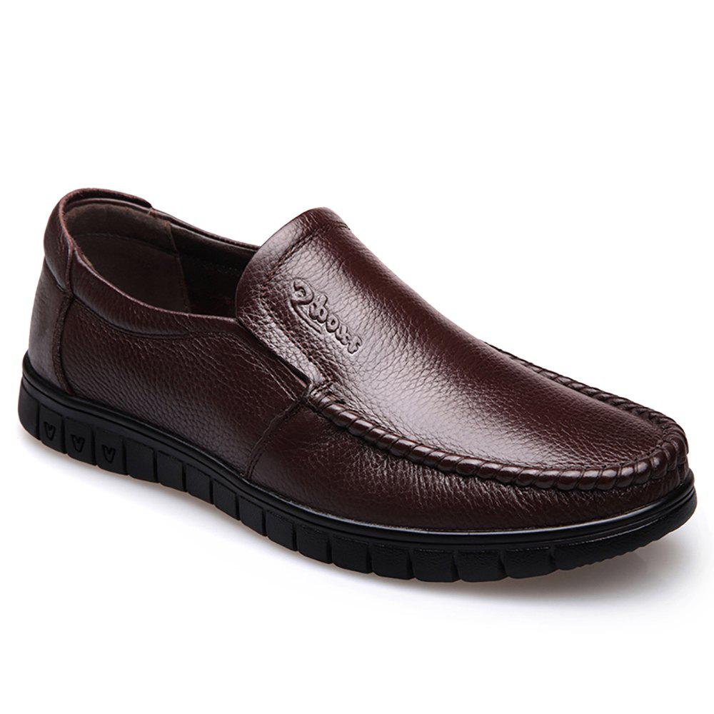 Men Leather Business Casual Shoes - BROWN 38