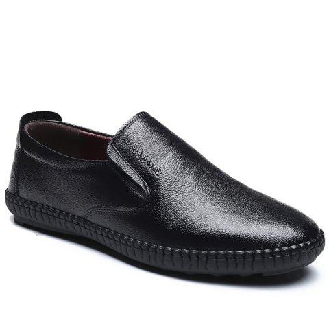 Top Layer Leather Casual Shoes Flat Bottomed Single Shoe - BLACK 42
