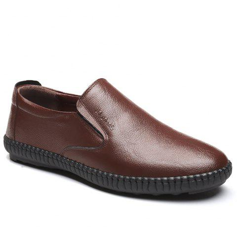Top Layer Leather Casual Shoes Flat Bottomed Single Shoe - BROWN 43