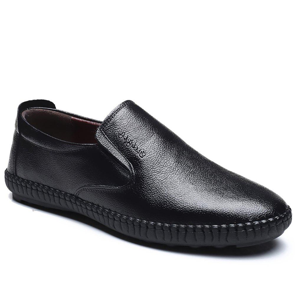 Top Layer Leather Casual Shoes Flat Bottomed Single Shoe - BLACK 38