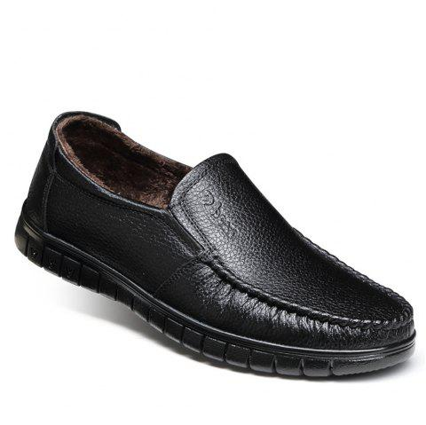 Casual Leather Warmth Retention Shoes - BLACK 43