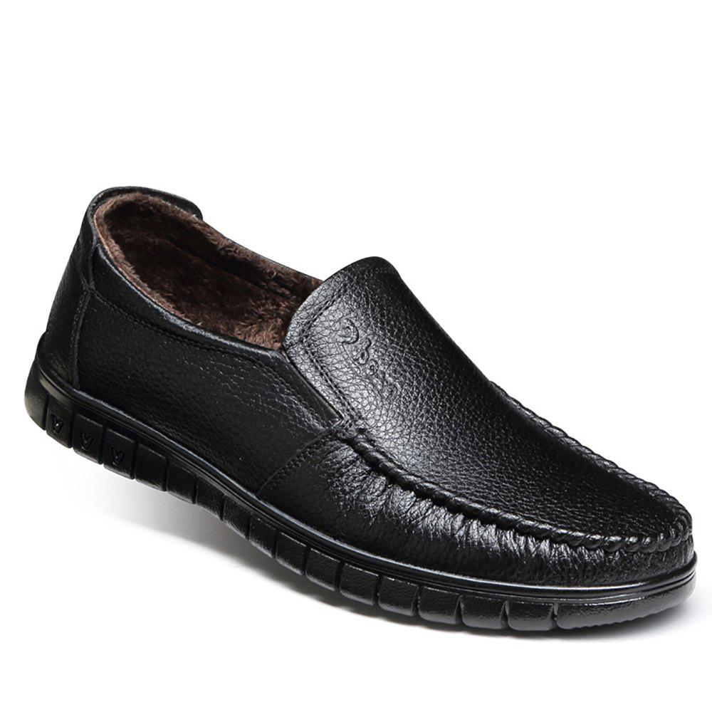 Casual Leather Warmth Retention Shoes - BLACK 39