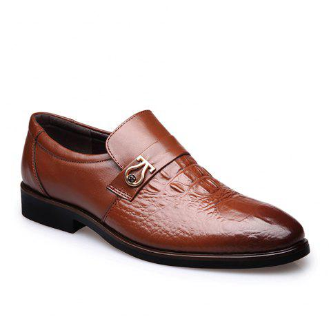 Top Layer of Leather Business Casual Shoes for Men - YELLOW 40