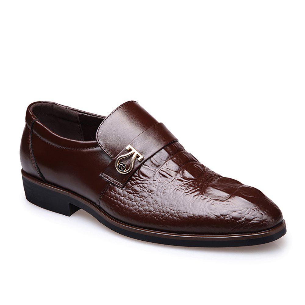 Top Layer of Leather Business Casual Shoes for Men - BROWN 42
