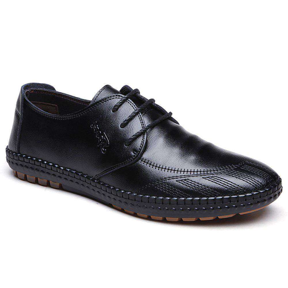 Low Frenulum Single Shoe Leather Casual Shoes - BLACK 44