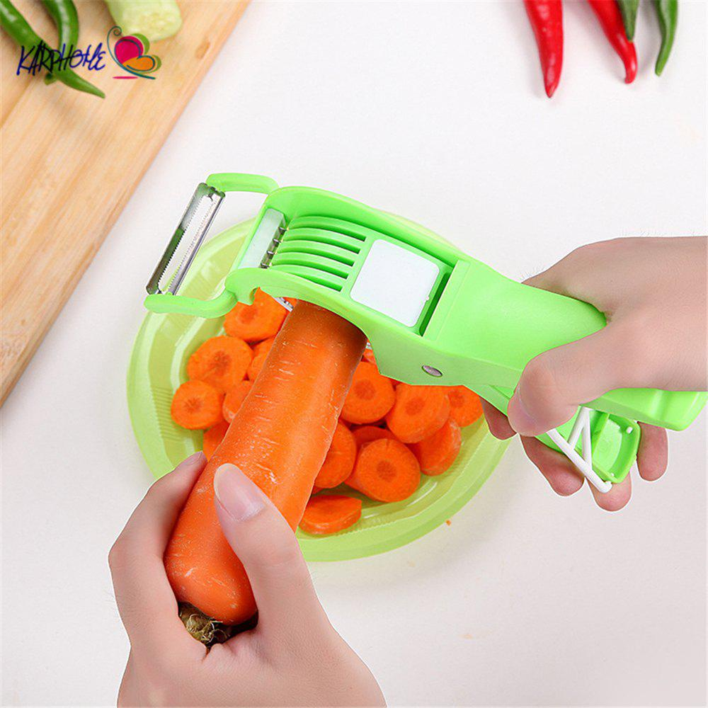 2 in 1 Salad Maker Cutter Multifunction Vegetables Slicers Salad Scissors Carrot Fruit Cutter Kitchen Cooking Tool - GREEN