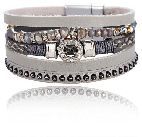 GS074 Women Fashion Multilayer Crystal Diamond Magnetic Clasp Bracelet - GRAY