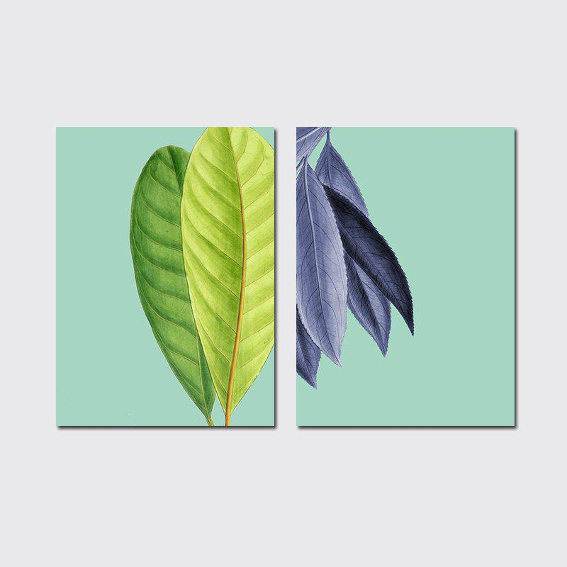 QiaoJiaHuaYuan No Frame Canvas Living Room Sanlian Painting Simple Natural Leaf Decoration Hanging Painting - COLORMIX