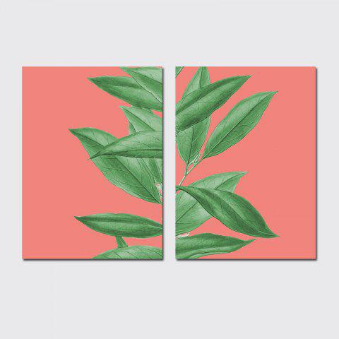 QiaoJiaHuaYuan  No Frame Canvas of the Nordic Living Room Sofa Background Two Sets of Painting Plants Clear New Wind Lea - COLORMIX