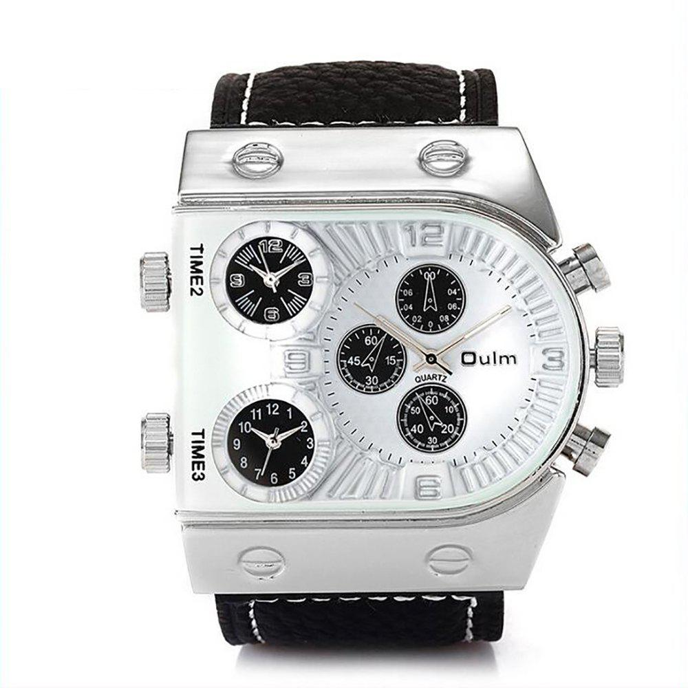 Custom Watches Three Time Zones As Men's Watch - WHITE