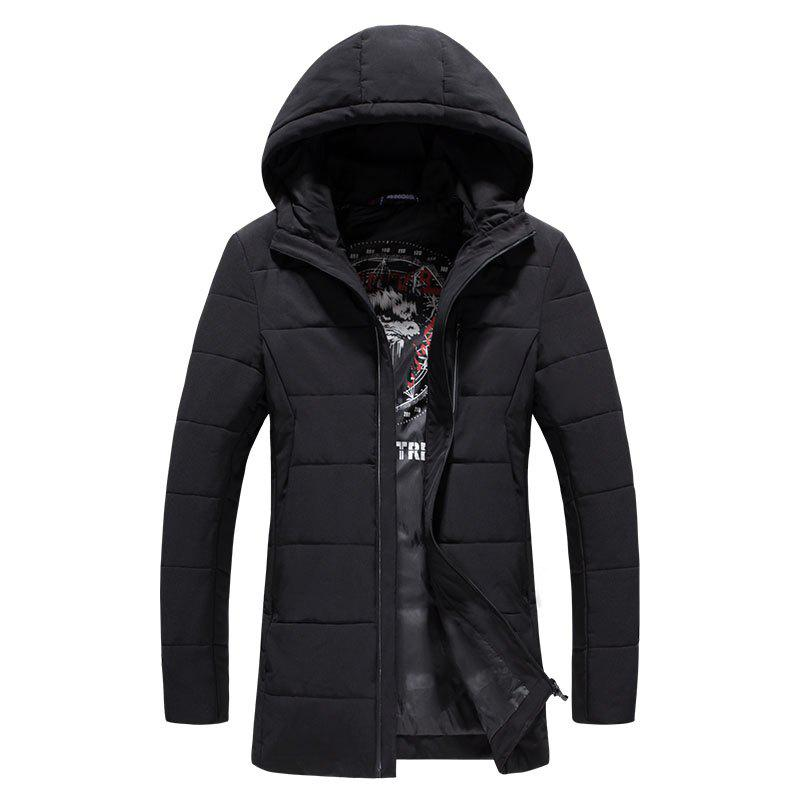 2018 Men's Fashion Trend Zipper Long Cotton Clothes - BLACK 4XL