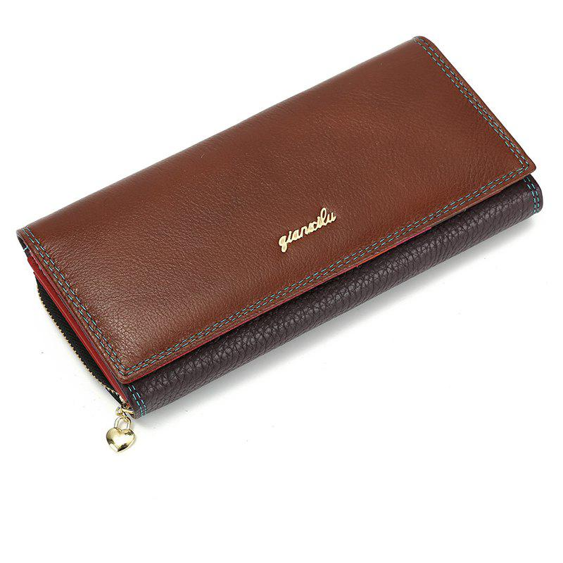 Fashion Brand Leather Women Phone Wallets High Quality Zipper Hasp Coin Purse Female Long Card Holder Lady Casual Wallet - BROWN