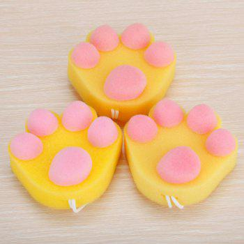 Cute Cat Claw Cleaning Sponge Kitchen Dish Pot Brush - YELLOW