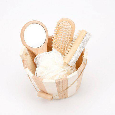 Wooden Bucket Bathing Set Foot Massage Mirror Comb Pumice Stone - WOODEN VERSION