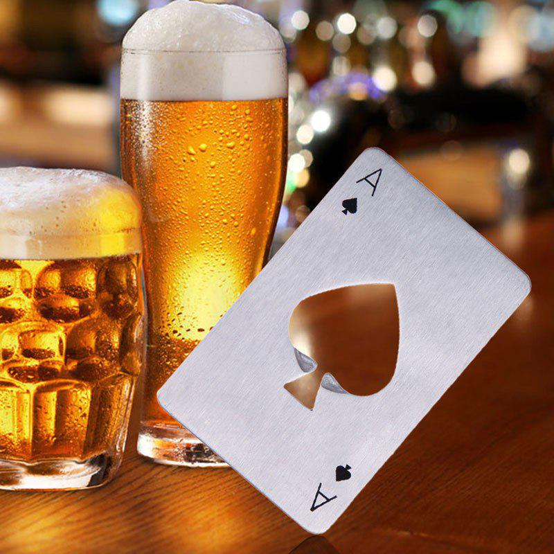 Bottle Opener Portable Spades Beer Stainless Steel Poker Card Bar Tool Kitchen Gadget Accessories - SILVER