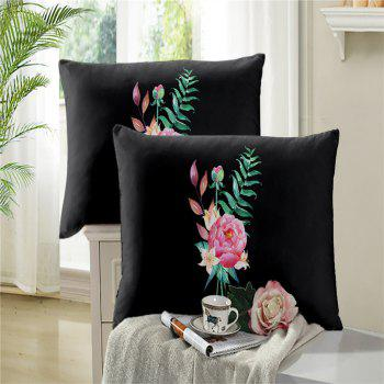 Embroidered and Painted Series Pattern Leaf Design Fresh  Comfortable High Grade Bedding - BLACK KING