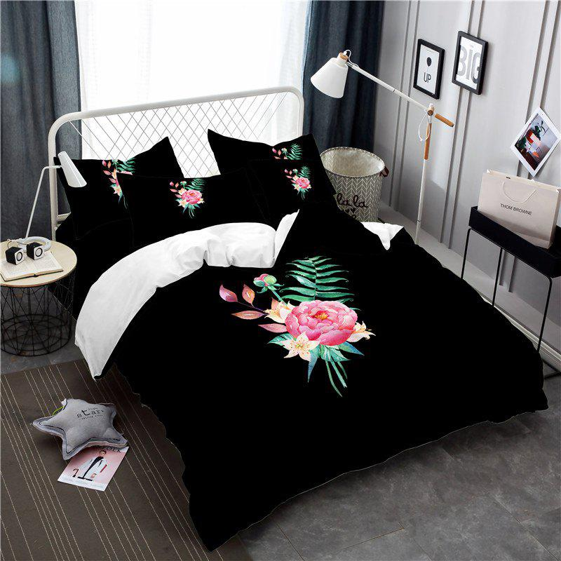 Embroidered and Painted Series Pattern Leaf Design Fresh  Comfortable High Grade Bedding - BLACK QUEEN