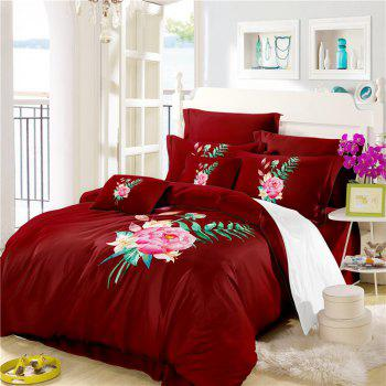 Embroidered and Painted Series Pattern Leaf Design Fresh  Comfortable High Grade Bedding - COPPER QUEEN