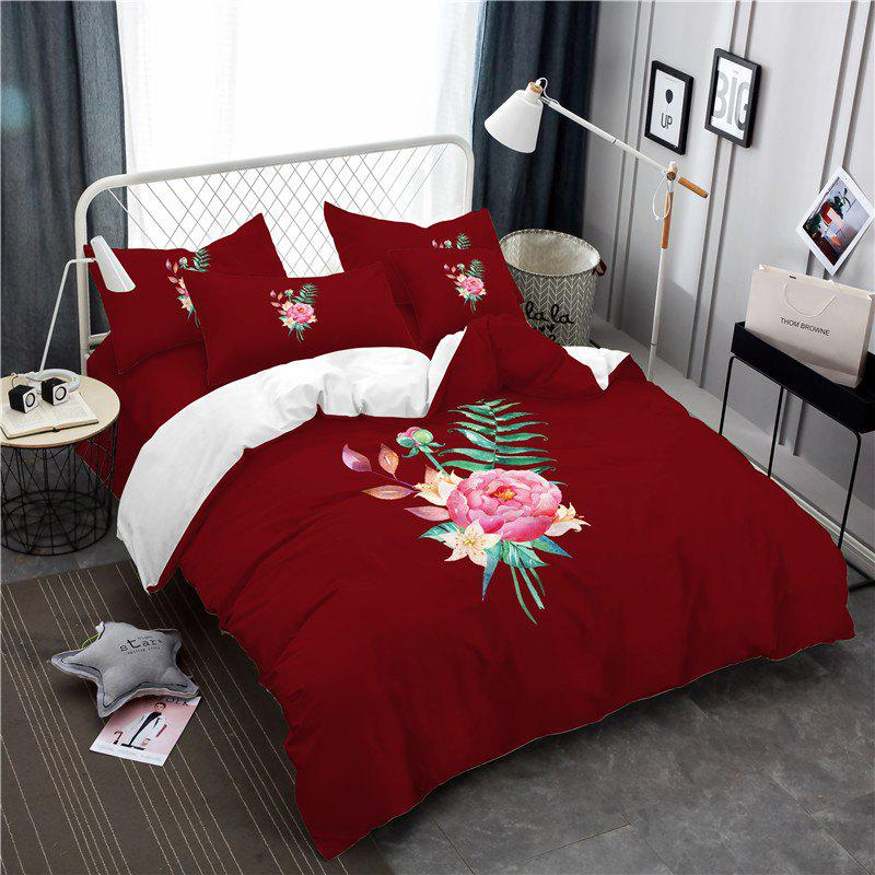 Embroidered and Painted Series Pattern Leaf Design Fresh  Comfortable High Grade Bedding - COPPER FULL