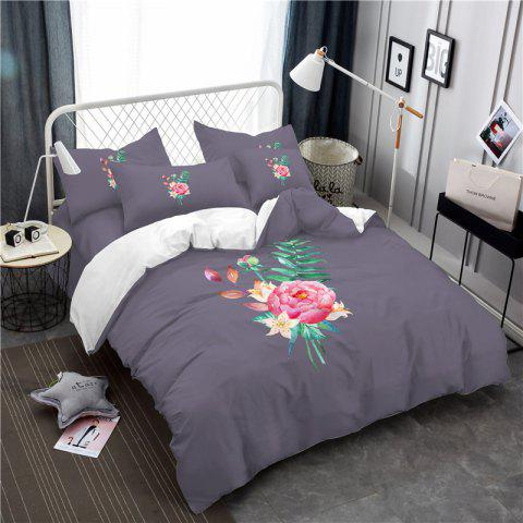Embroidered and Painted Series Pattern Leaf Design Fresh  Comfortable High Grade Bedding - GRAY QUEEN