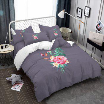 Embroidered and Painted Series Pattern Leaf Design Fresh  Comfortable High Grade Bedding - GRAY GRAY