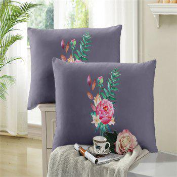 Embroidered and Painted Series Pattern Leaf Design Fresh  Comfortable High Grade Bedding - GRAY FULL