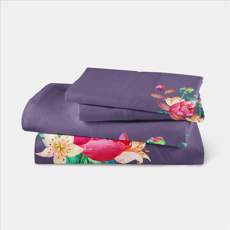 Embroidered and Painted Series Pattern Leaf Design Fresh  Comfortable High Grade Bedding - GRAY TWIN