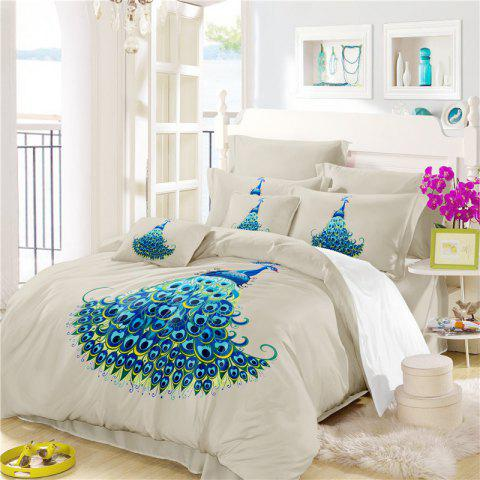 Embroidery Peacock Feathers Series Four Pieces of Bedding SK11 - BEIGE FULL