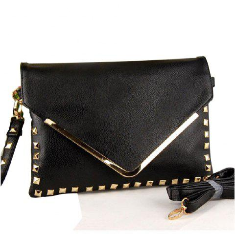 Women's Clutch  Trendy Rivet Embossed Envelope Bag - BLACK