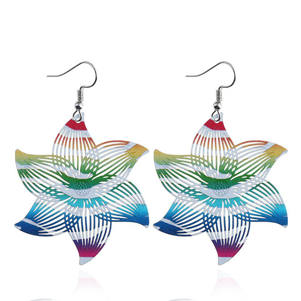 Women Girls Hollow Flower Pendant Drop Earrings Colorful Metal Fashion Fine Jewelry Gifts - COLOR