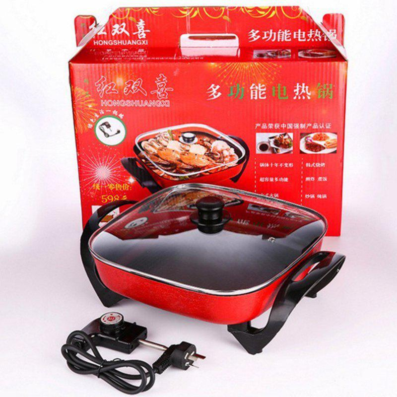 Korean MultiFfunctional Electric Cooker 5L Household Electric Hot Pot - RED