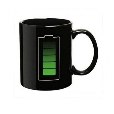 Magic Mug Color Changing Cups Porcelain Battery Coffee Heat Hot Cold Temperature Sensitive Reactive Cup - BLACK